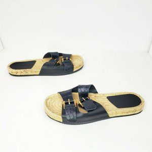 Aldo Black Leather Snakeskin Platform Espadrille 9
